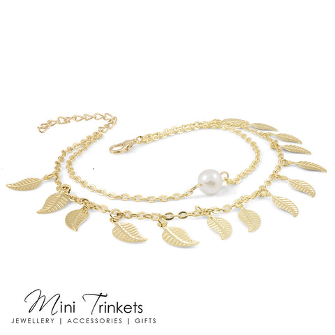 Gold Toned Multi-Layered Leaves & Faux Pearl Anklet
