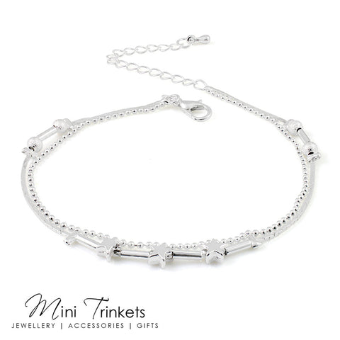Silver Plated Multi-Layered Star Anklet