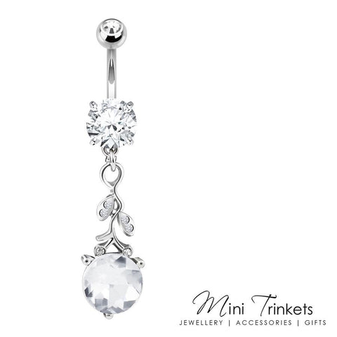 Cubic Zirconia Silver Vine Belly Bar
