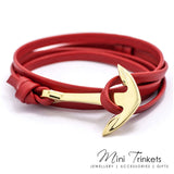 PU Leather Anchor Wrap Around Bracelet