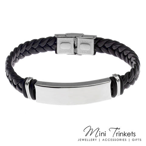 PU Leather Stainless Steel ID Bracelet - Black