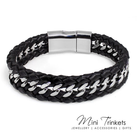 Stainless Steel Leather Double Braided Bracelet - Black