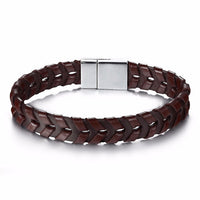 Stainless Steel Arrow Leather Braided Bracelet