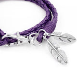 Feather Charm Leather Wrap Around Bracelet
