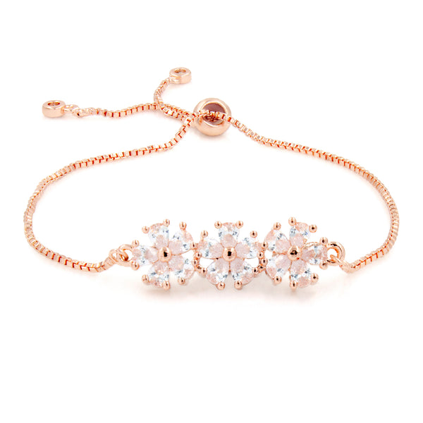 Rose Gold Plated Cubic Zirconia Flower Bracelet