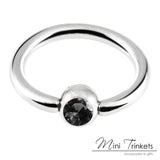 Stainless Steel Gem Ball Captive Ring