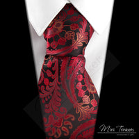 Paisley Pattern Tie - Black & Red