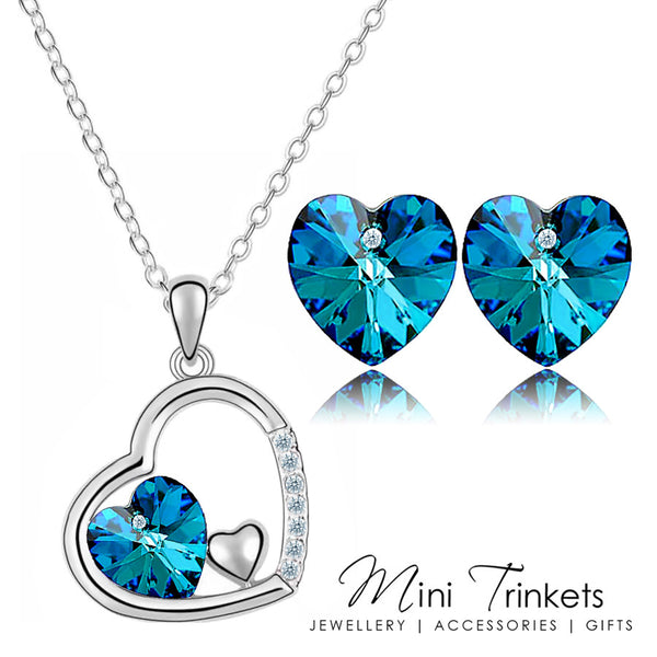 Silver Plated Austrian Crystal Heart Necklace & Earring Set