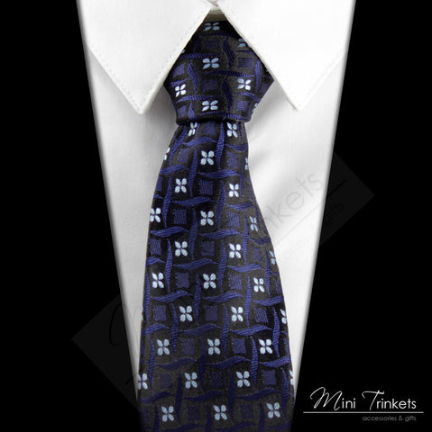 Silk Floral Tie - Blue & White