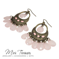 Bohemian Style Chandelier Drop Earrings - Pink - Mini Trinkets
