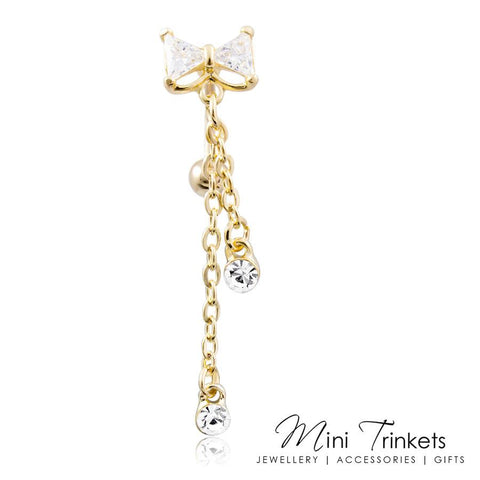 Cubic Zirconia Bow Reverse Belly Bar
