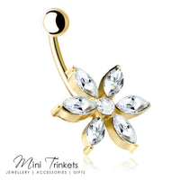 Cubic Zirconia 6 Pointed Flower Belly Bar - Mini Trinkets