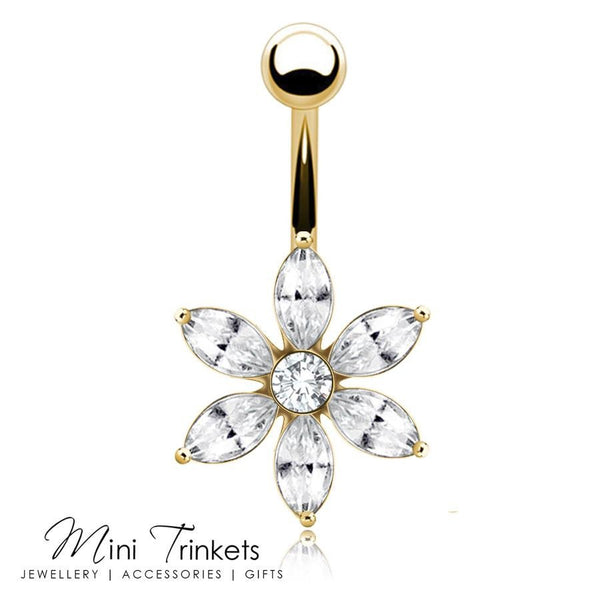 Cubic Zirconia 6 Pointed Flower Belly Bar