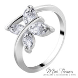 Silver Plated Cubic Zirconia Butterfly Ring