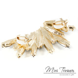 Gold Toned Feather Shaped Crystal Ear Cuff Stud Earrings