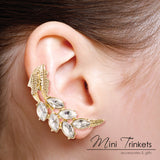 Gold Toned Crystal Leaf Ear Cuff Stud Earring