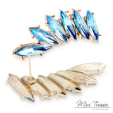 Gold Crystal Wing Statement Earrings