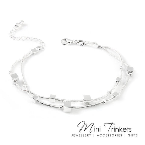 Silver Plated Snake Chain Cube Bracelet