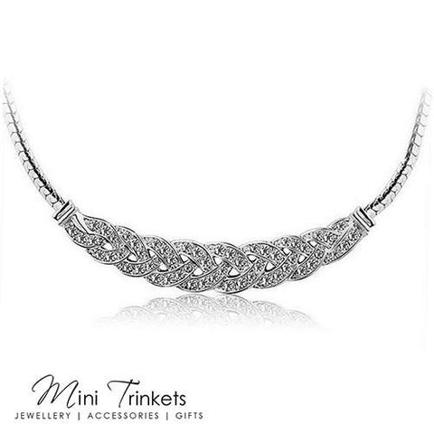 18K White Gold Plated Tennis Necklace