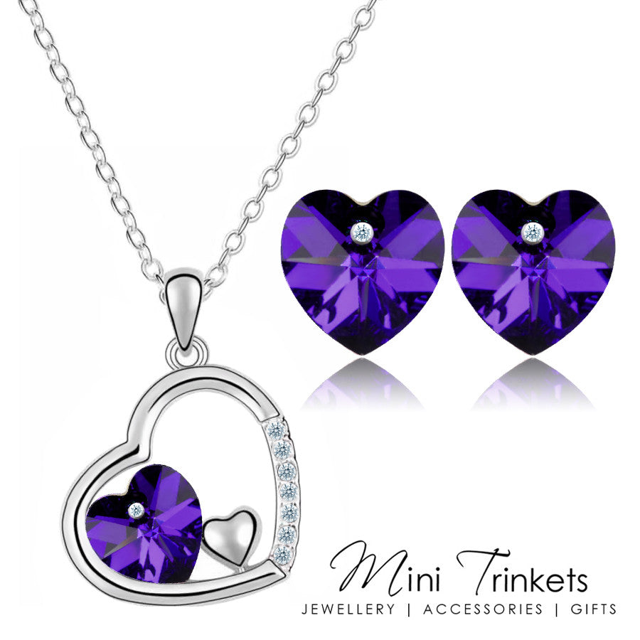 purple birthday swarovski gifts love romantic amazon necklaces for pendant com jewelry heart necklace wife ancreu women dp fashion