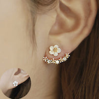 Gold Plated Daisy Flower Double Earrings