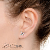 Silver Plated Cubic Zirconia Flower Stud Earrings