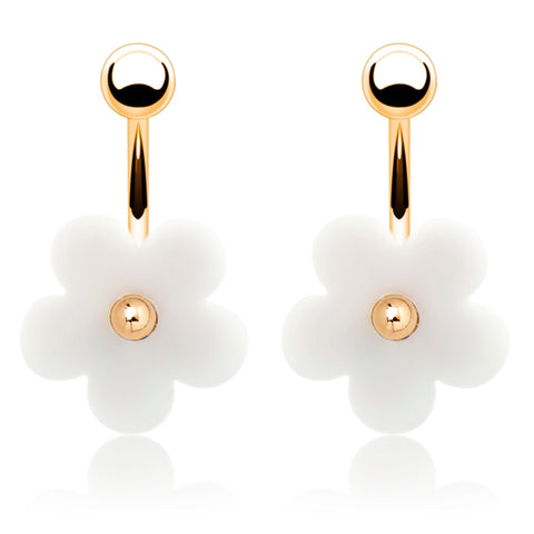 Gold Plated Acrylic Daisy Flower Double Earrings