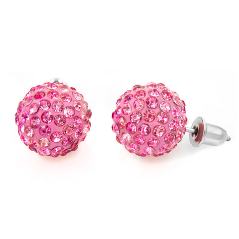 Handmade Shamballa Style Austrian Crystal Ball Stud Earrings