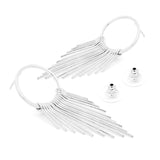 Hoop Tassel Stud Earrings