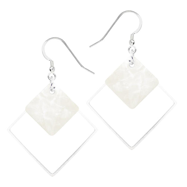 Square Geometric Shell Drop Earrings