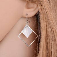 Square Geometric Shell Drop Earrings - Mini Trinkets