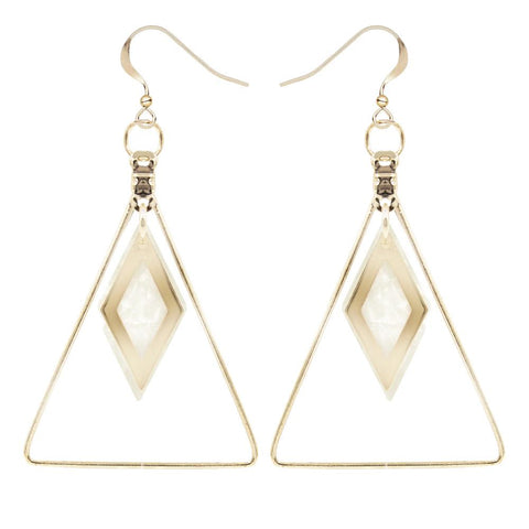 Triangle Geometric Shell Drop Earrings