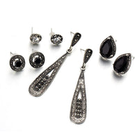 4 Pairs Bali Style Crystal Drop & Stud Earrings Set - Mini Trinkets