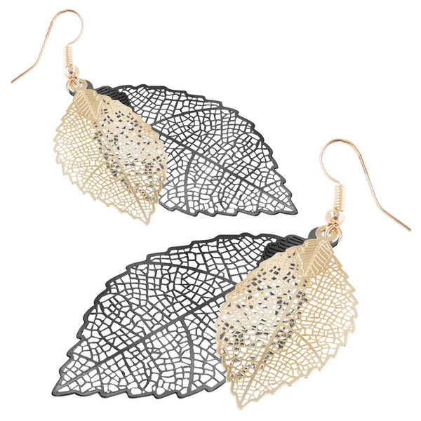 Metal Bohemian Feather Drop Earrings