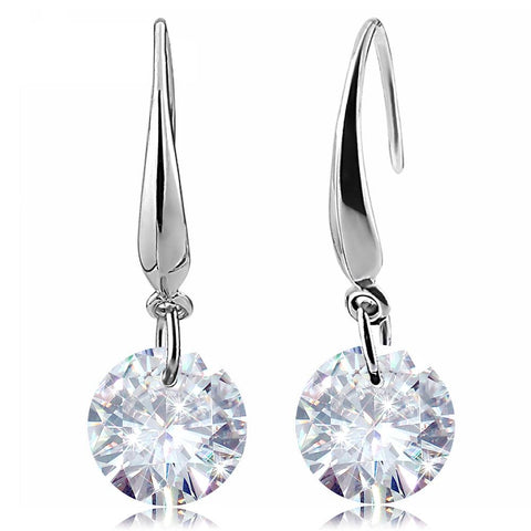 Silver Plated Cubic Zirconia Drop Earrings