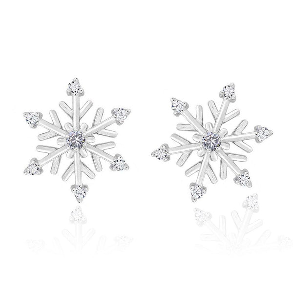 Silver Plated Cubic Zirconia Snowflake Stud Earrings