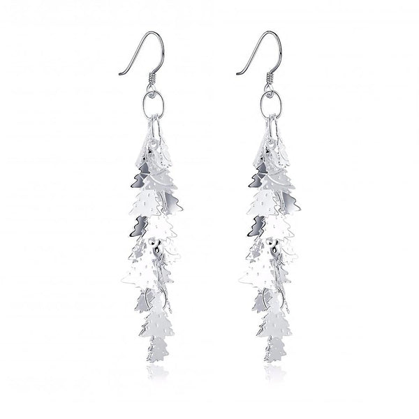 Silver Plated Christmas Tree Cluster Drop Earrings - Mini Trinkets