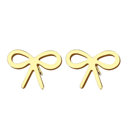 Stainless Steel Bow Stud Earrings