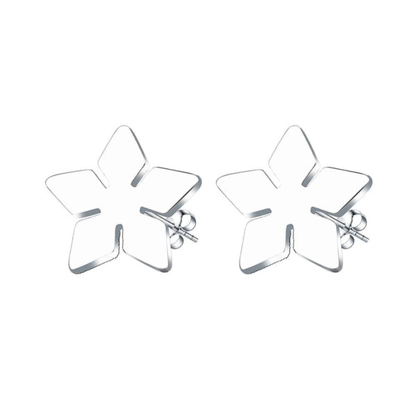 Stainless Steel Star Flower Stud Earrings - Mini Trinkets