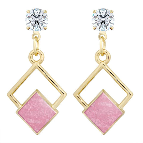 Geometric Resin Cubic Zirconia Solitaire Stud Earring
