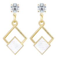 Geometric Resin Cubic Zirconia Solitaire Stud Earring - Mini Trinkets