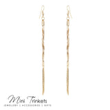 Twisted Drop Tassel Earrings - Gold