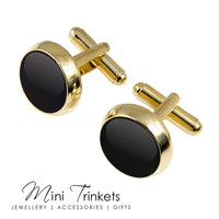 Gold Toned Round Enamel Cufflinks - Black