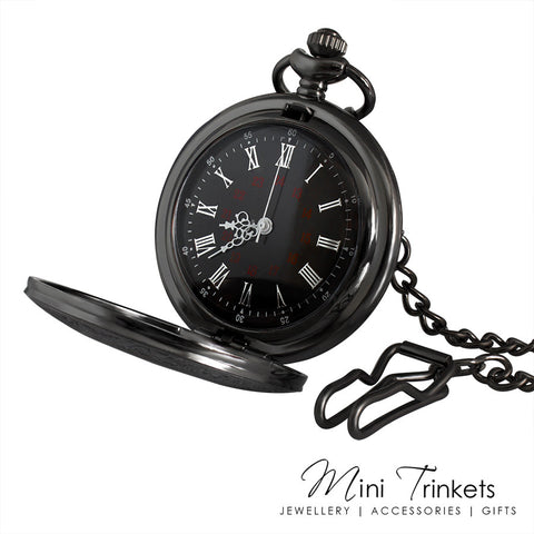 Gunmetal Black Pocket Watch & Chain