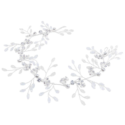 Cubic Zirconia Flower Beaded Bridal Hair Vine