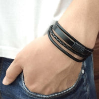 Handmade Leather Braided Surfer Bracelet - E - Mini Trinkets