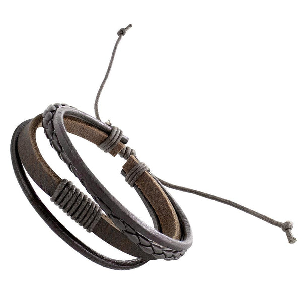 Handmade Leather Braided Surfer Bracelet - D