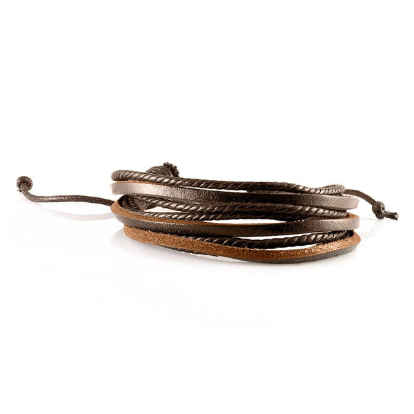 Handmade Leather Braided Surfer Bracelet - I - Brown