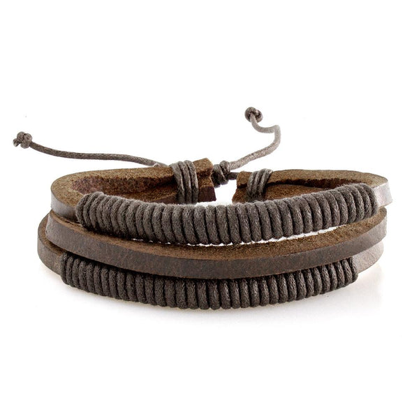 Handmade Leather Braided Surfer Bracelet - L