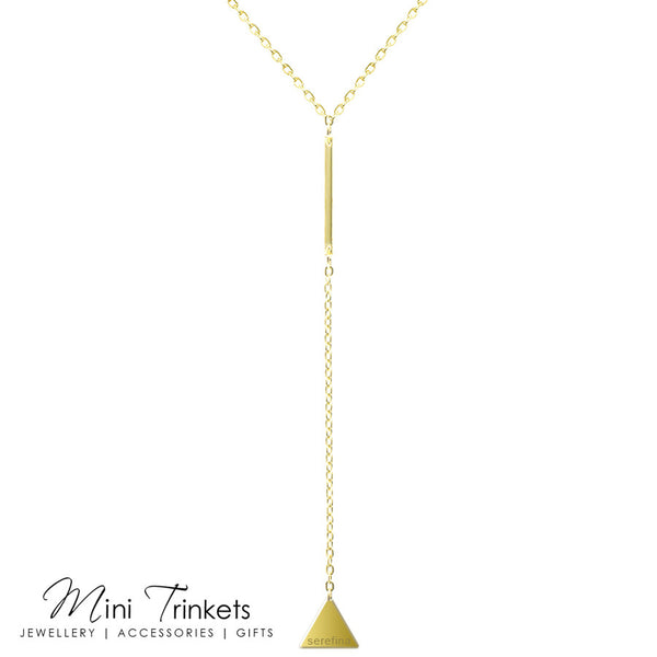 Lariat Triangle & Bar Drop Necklace - Gold
